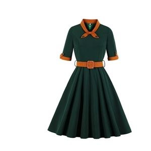 Dresses & Skirts - Pinup Dark green belted dress